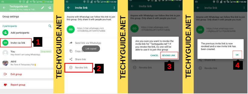 how to revoke whatsapp group link