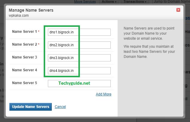 bigrock domain name servers