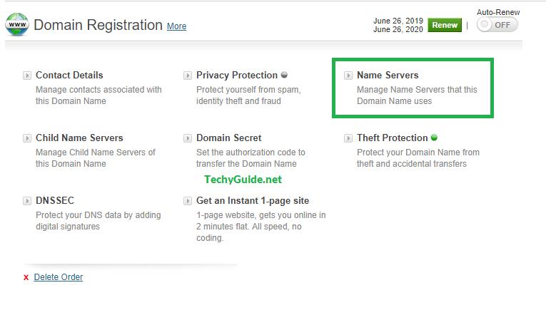 bigrock domain name server option