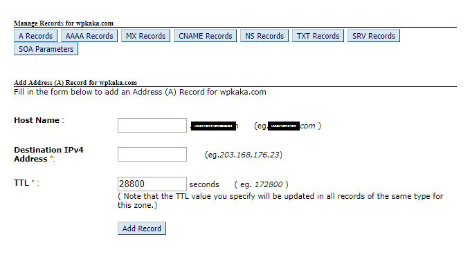 Manage A records of Bigrock domain