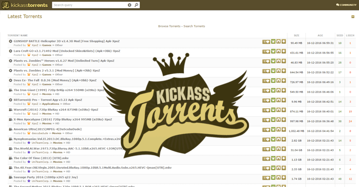 kickass torrents home page