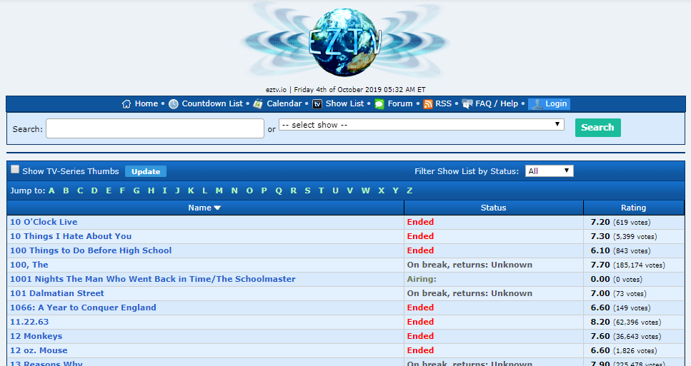 eztv home page