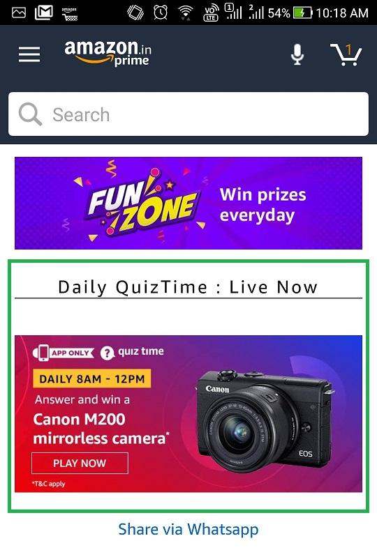 Amazon Daily Quiz time