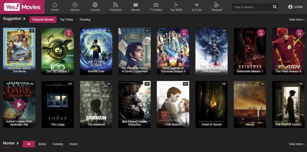 yesmovies proxy website home page