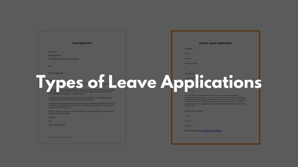 Types of Leave Applications